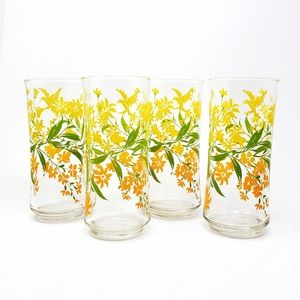 Vintage Libby Style Hummingbird Floral Glasses